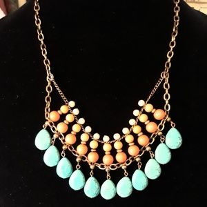 Turquoise & coral stone & bead necklace!